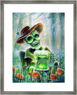 Cerveza Verde Framed Print by Heather Calderon