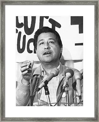 Cesar Chavez Announces Boycott Framed Print by Underwood Archives