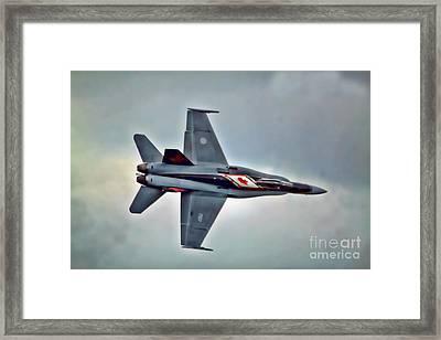 Cf18 Hornet Topview Flying Framed Print by Cathy  Beharriell