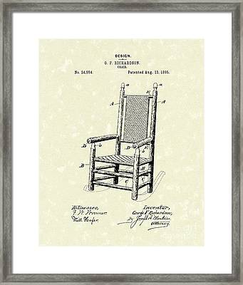 Chair 1895 Patent Art Framed Print by Prior Art Design
