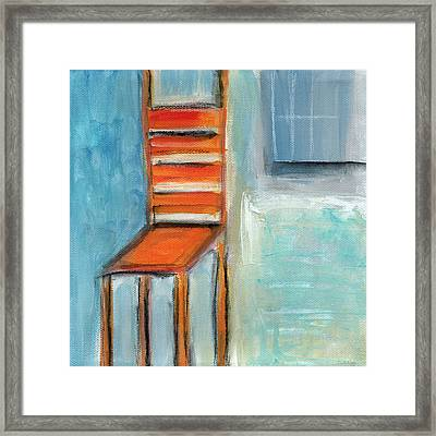 Chair By The Window- Painting Framed Print by Linda Woods