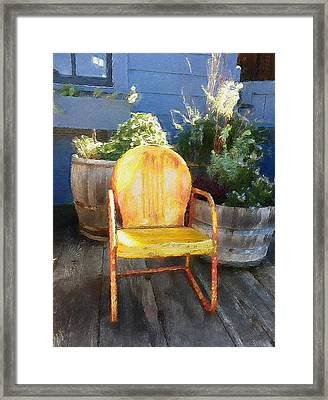 Chair On The Porch Framed Print by Joie Cameron-Brown