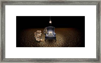 Chair With A Monkey And Typewriter Framed Print by Panoramic Images