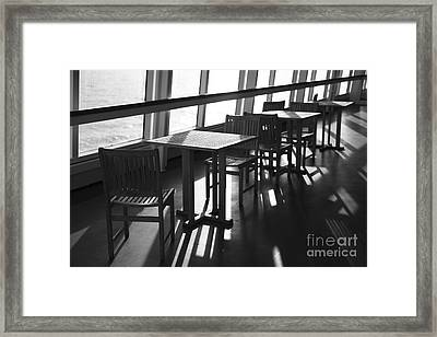 Chairs And Tables Framed Print by Anne Gilbert