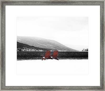 Chairs At Canandaigua Lake 2011 Framed Print by Joseph Duba