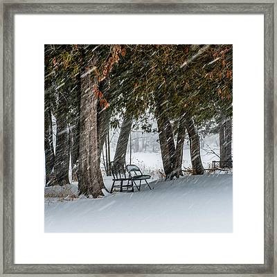 Chairs In A Blizzard Framed Print by Paul Freidlund