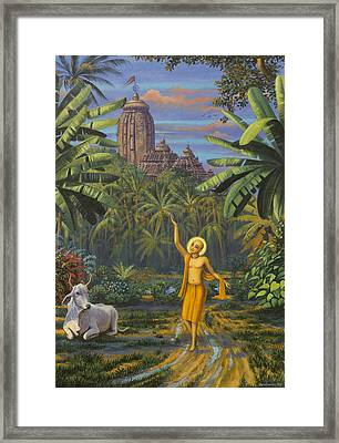 Chaitanya Mahaprabhu In Jaganath Puri Framed Print by Vrindavan Das