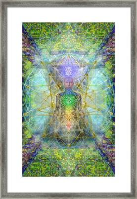 Chakra Tree Anatomy With Mercaba In Chalice Garden Framed Print by Christopher Pringer