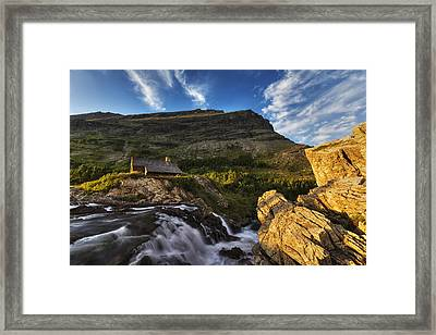 Chalet At The Falls Framed Print by Mark Kiver