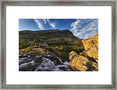 Chalet At The Falls Framed Print by Mark Kiver