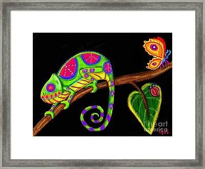 Chameleon And Ladybug Framed Print by Nick Gustafson