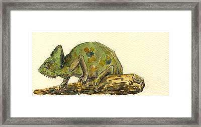 Chameleon Framed Print by Juan  Bosco