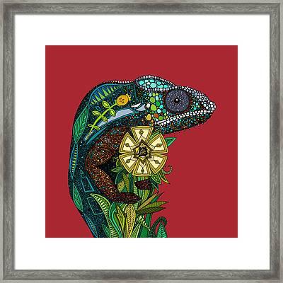 Chameleon Red Framed Print by Sharon Turner