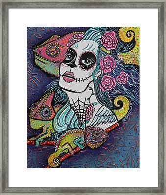 Chameleon Sugar Skull Framed Print by Laura Barbosa