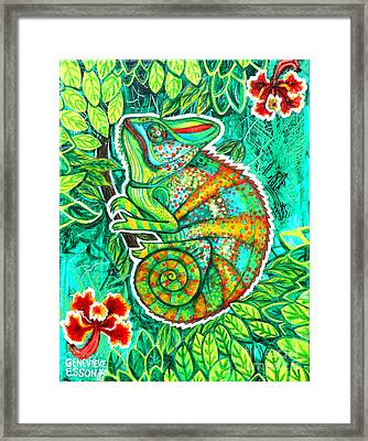 Chameleon With Orchids Framed Print by Genevieve Esson