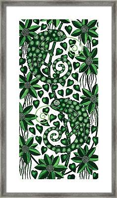 Chameleons Tall, 2013 Woodcut Framed Print by Nat Morley