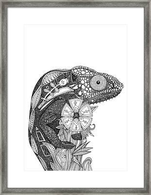 Chameloeon Black White Framed Print by Sharon Turner