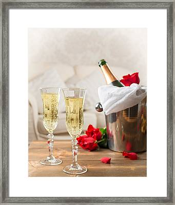 Champagne And Ice Bucket Framed Print by Amanda And Christopher Elwell