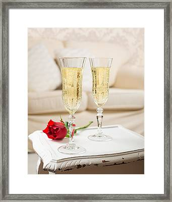 Champagne And Rose Framed Print by Amanda And Christopher Elwell