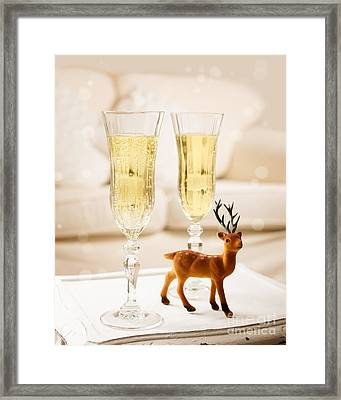 Champagne At Christmas Framed Print by Amanda Elwell