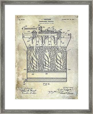 Champagne Bottle Freezer Patent 1902 Blue Framed Print by Jon Neidert