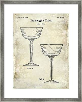 Champagne Glass Patent Drawing Framed Print by Jon Neidert