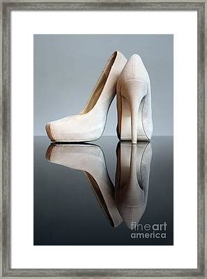 Champagne Stiletto Shoes Framed Print by Terri Waters