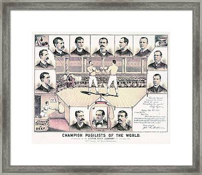 Champion Pugilists 1885 Framed Print by Padre Art