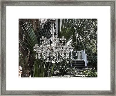 Chandelier In The Garden Framed Print by Patricia Greer