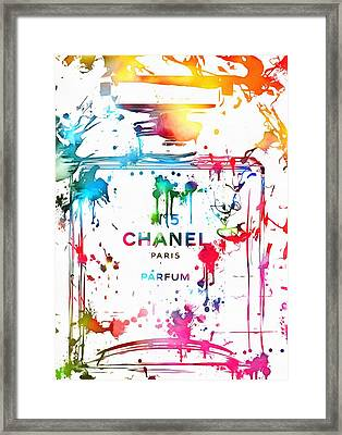 Chanel Number Five Paint Splatter Framed Print by Dan Sproul