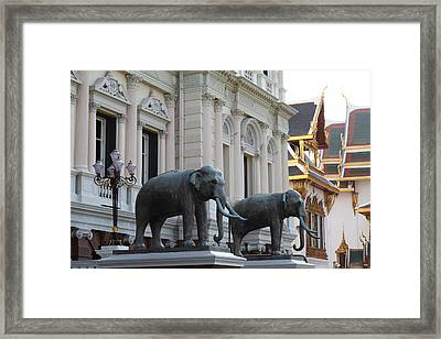 Chang Statue - Grand Palace In Bangkok Thailand - 01133 Framed Print by DC Photographer