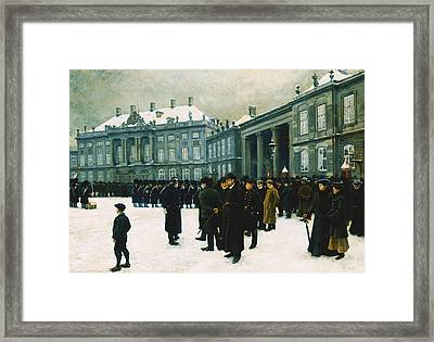 Changing Of The Guard At Amalienborg Palace Framed Print by Paul Fischer