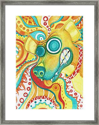 Chaotic Canine Framed Print by Shawna Rowe