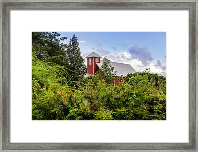 Chapel At The Antique Rose Emporium Framed Print by David Morefield