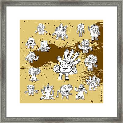Character Doodles Urban Grunge Framed Print by Frank Ramspott