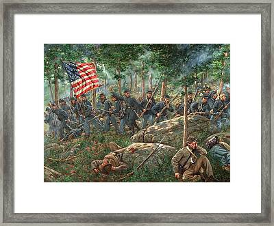 Charge Of The 20th Maine Framed Print by Mark Maritato