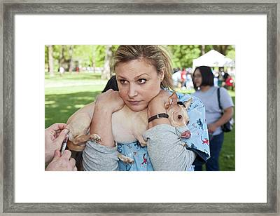 Charity Dog Vaccination Event Framed Print by Jim West