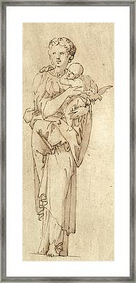 Charity Or The Virgin And Child Framed Print by Geoffroy Dumonstier