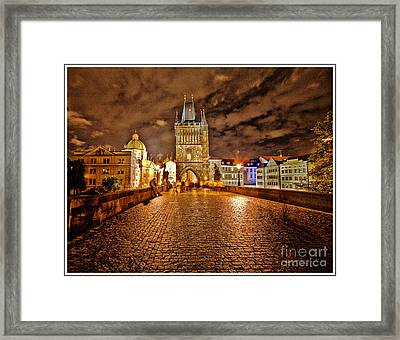 Charles Bridge At Night Framed Print by Madeline Ellis