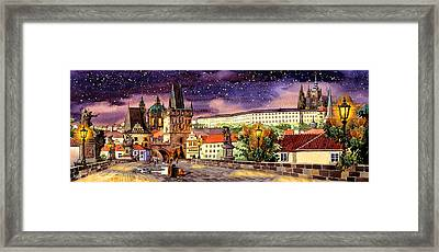 Charles Bridge Night  Framed Print by Dmitry Koptevskiy