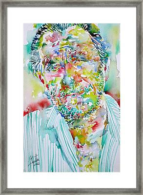 Charles Bukowski Portrait.2 Framed Print by Fabrizio Cassetta