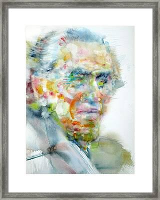 Charles Bukowski - Watercolor Portrait Framed Print by Fabrizio Cassetta