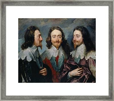 Charles I In Three Positions Framed Print by Anthony van Dyck