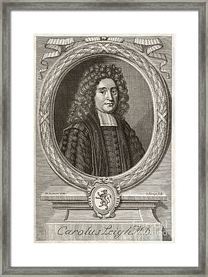 Charles Leigh, English Physician Framed Print by Middle Temple Library