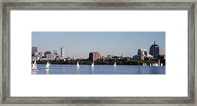 Charles River Skyline Boston Ma Framed Print by Panoramic Images