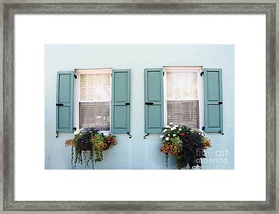 Charleston Aqua Teal French Quarter Rainbow Row Flower Window Boxes Framed Print by Kathy Fornal