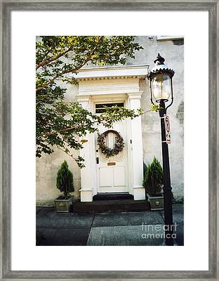 Charleston Door With Wreath And Street Lamp Framed Print by Kathy Fornal