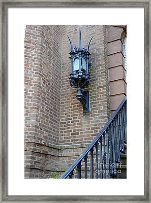 Charleston French Quarter Gothic Architecture - Charleston Gothic Ornate Black Lanterns Lamps  Framed Print by Kathy Fornal