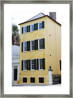 Charleston French Quarter Historical District Yellow House With Black Shutters - Historical Building Framed Print by Kathy Fornal