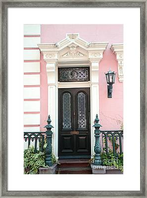 Charleston French Quarter Pink House - Charleston French Architecture Pink Black And White Door Framed Print by Kathy Fornal